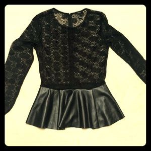 Black long sleeve Lace shirt SZ S